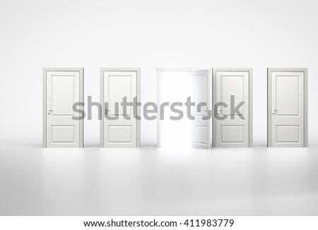 Concept of opportunity. Light shining through one door in row of shut ones. 3d render