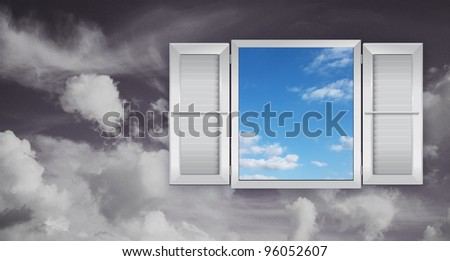 Concept of optimism with a window on the sky