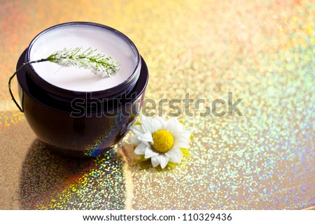 concept of organic cosmetics, beauty product with flower