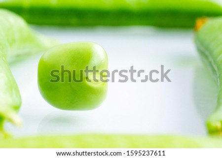 Concept of organic food ingredient - green pea in frame of pea pods