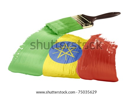 Concept of paint strokes with the colors of the flag of Ethiopia.
