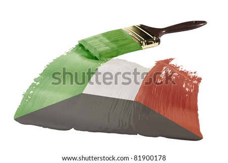 Concept of paint strokes with the colors of the flag of Kuwait.