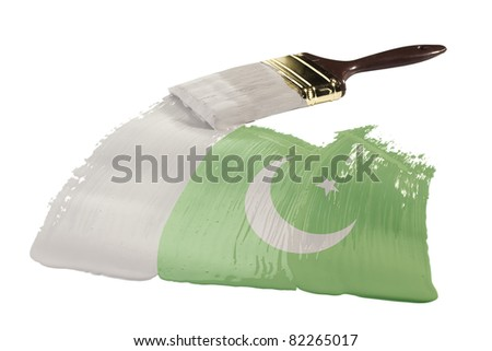 Concept of paint strokes with the colors of the flag of Pakistan.