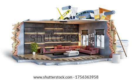 Concept of part of room ready to finishing coating works, 3d illustration Stock photo ©