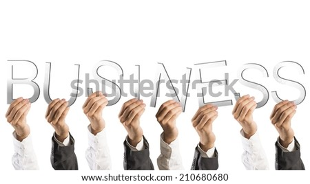 Concept of partnership and teamwork with hands holds business words
