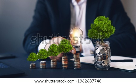 Concept of pass and increase of renewable energy. Alternative sources of energy. Green energy, eco energy. Eco business investment