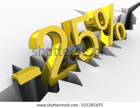 Concept of 25 percent discount portrayed by golden 3d number (minus twenty-five percent) rendered and isolated on white background with slight reflection in the ground.