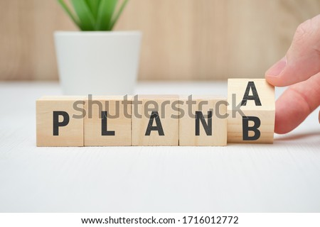 Concept of plan A and B as an alternative and emergency actions. Close up. Stockfoto ©