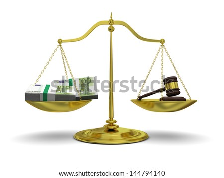 Concept of profits versus justice, with golden scale isolated on white background