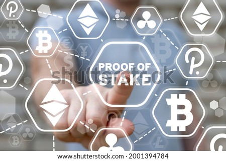 Concept of proof of stake. POS cryptocurrency blockchain technology. Сток-фото ©