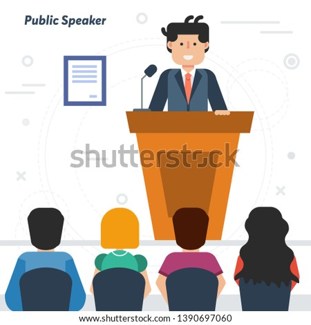 Concept of public speaking and business conference with audience. Happy man orator speaking from tribune and listeners in auditorium on chairs in flat style