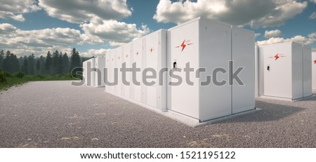 Concept of renewable energy battery storage system in nature. 3d rendering Stock photo ©