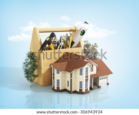 Concept of repair house. Repair and construction of the house. Tool box near a house with trees on the blue background with clouds.