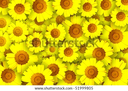Concept of repeated pattern with yellow flowers