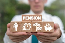 Concept of retirement planning. Pension savings and elderly finance health safety.