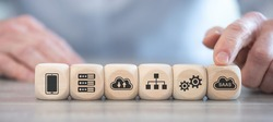 Concept of SaaS with icons on wooden cubes