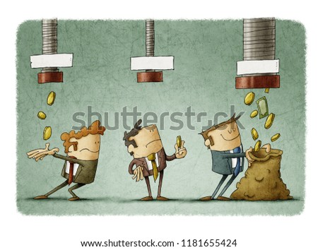concept of salary difference. Three businessmen receive the money that falls from three pipes in different amounts.