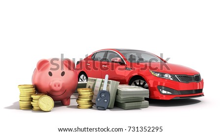 concept of savings to buy a car money pig dollar bills in stacks car 3d render on white
