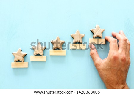 concept of setting a five star goal. increase rating or ranking, evaluation and classification idea #1420368005