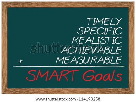 Concept of SMART goal consists of specific, measurable, achievable, realistic and timely - stock photo