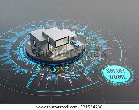 Concept of smart home or internet of things technology. Scale model of contemporary house on the interactive display with infographic elements. 3D illustration on dark background.