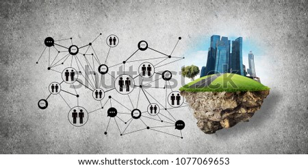 Concept of social communication in the city by means of flying island with modern buildings and social network structure against gray wall on background. 3D rendering. 3D rendering. #1077069653