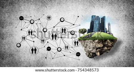 Concept of social communication in the city by means of flying island with modern buildings and social network structure against gray wall on background. 3D rendering. 3D rendering. #754348573