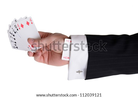 concept of someone having an ace up their sleeve and having the upper hand