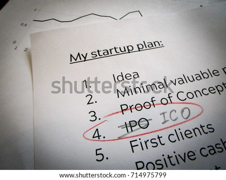 Concept of Startup Trading IPO (Initial Public Offering) for ICO (Initial Coin Offering)