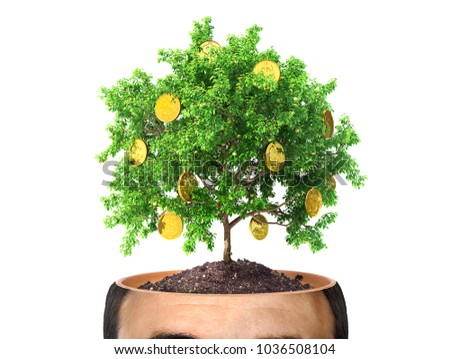 Stock Photo Concept of striving for wealth. Money tree in the cut of head on the white background. Greed. 3d render