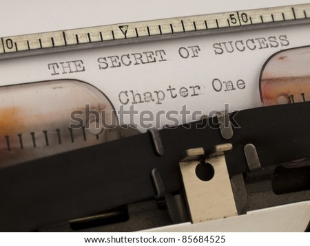 Concept of success on the typewriter