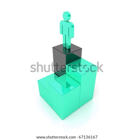 Concept of successful businessman(green) - stock photo