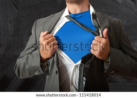 Concept of super teacher at school - stock photo