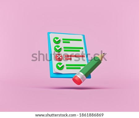 concept of Survey, exam, test, questionnaire, document. minimal icon or symbol. 3d rendering