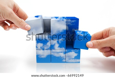 concept of sustainable development with Cube puzzle and sky