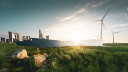 Concept of sustainable energy solution in beautifull sunset backlight. Frameless solar panels, battery energy storage facility, wind turbines and big city with skycrapers in background.