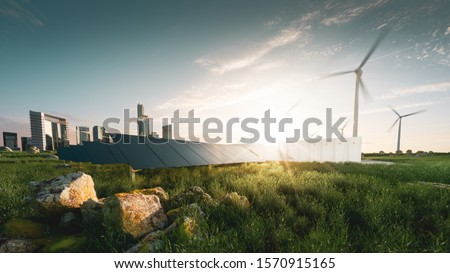 Concept of sustainable energy solution in beautifull sunset backlight. Frameless solar panels, battery energy storage facility, wind turbines and big city with skycrapers in background.  Stockfoto ©