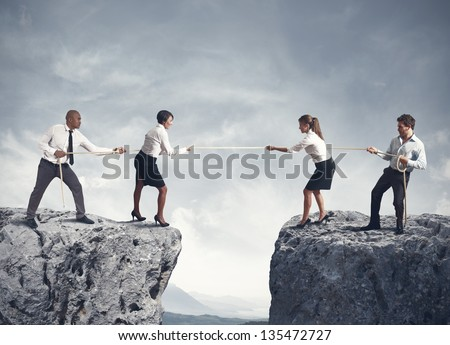 Concept of team and competition in business - stock photo