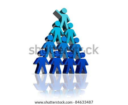 Concept of teamwork and partnership in blue color