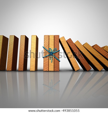 Concept of teamwork and strong partnership stability strategy as a group of domino pieces tied together to stop the instability as a business metaphor for unity strength as a 3D illustration.