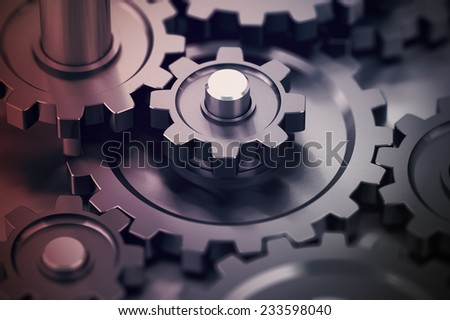 Concept of teamwork, gears working together, mechanical symbol.