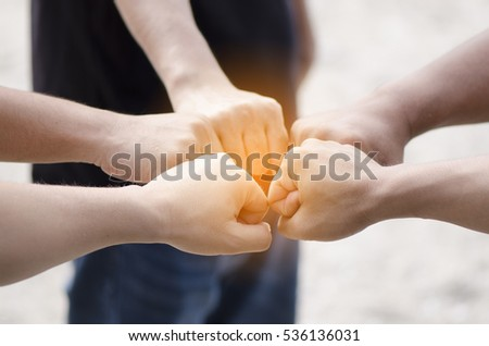 concept of teamwork,team unity to success with stack of hands. #536136031