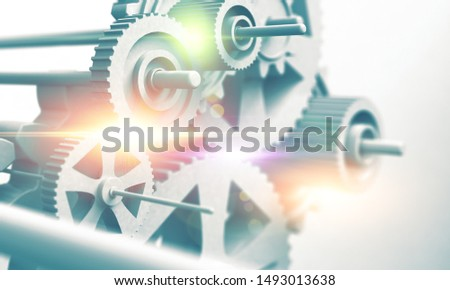 Concept of technology in mechanical engineering and the motor industry. Strength and progress.Gears, mechanisms and cog background.3d illustration