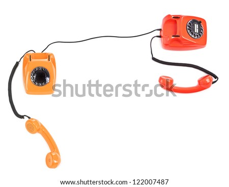 concept of telephone connection over white background