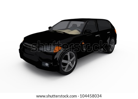 concept of the black crossover car isolated on a white background