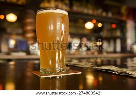 Concept of the cost of craft beers at a Oregon microbrew pub