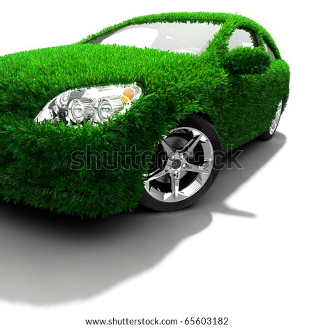 Concept of the eco-friendly car - body surface is covered with a realistic grass - stock photo