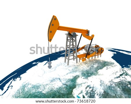 Concept of the oil rig on a white background