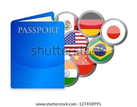 concept of the passport and countries of the world illustration design