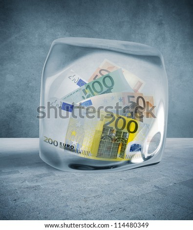Concept of the price freeze, to block the money - stock photo